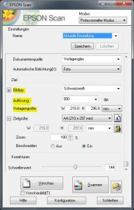 Noten scannen: Grundeinstellungen für einen Schwarzweißscan bei 300 dpi in A4-Format