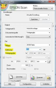 Noten scannen: Grundeinstellungen für einen Farbscan (z. B. für Titelseiten) bei 150 dpi mit benutzerdefinierter Vorlagengröße