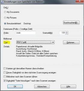 Noten scannen: Einstellungen zum Speichern von Datein