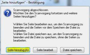 Noten scannen: Dialogfeld zum Scannen der nächsten Seite in die selbe Datei