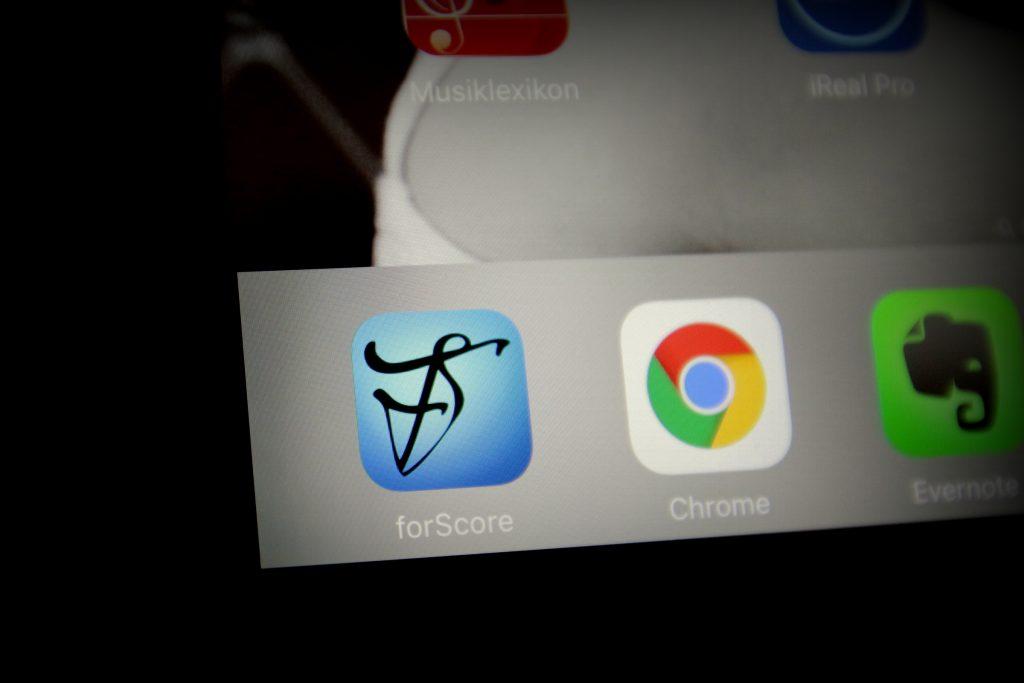 Noten scannen: iPad mit ForScore installiert